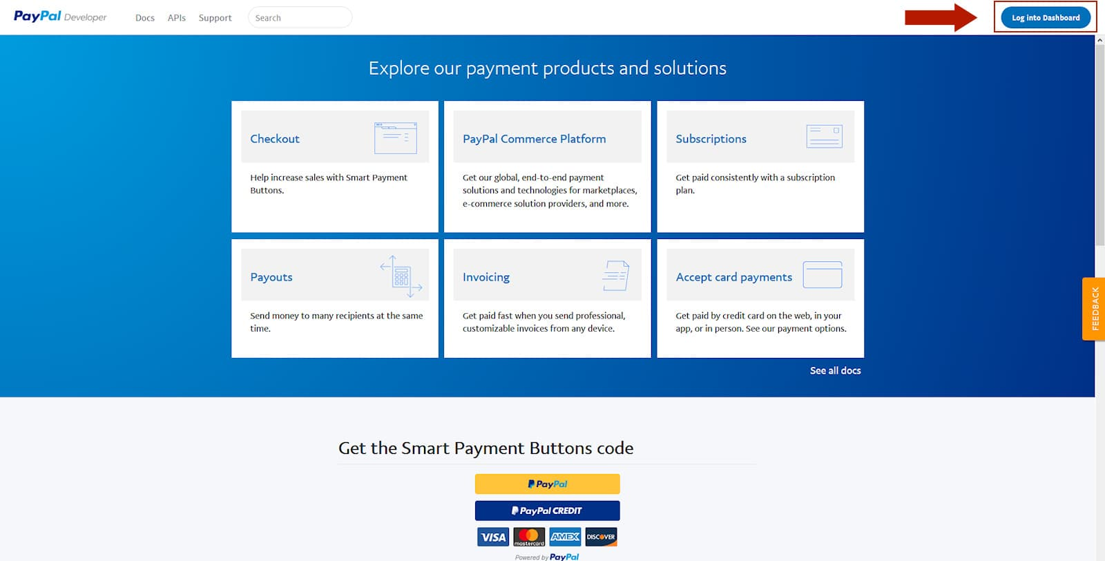 Paypal Developer Webseite