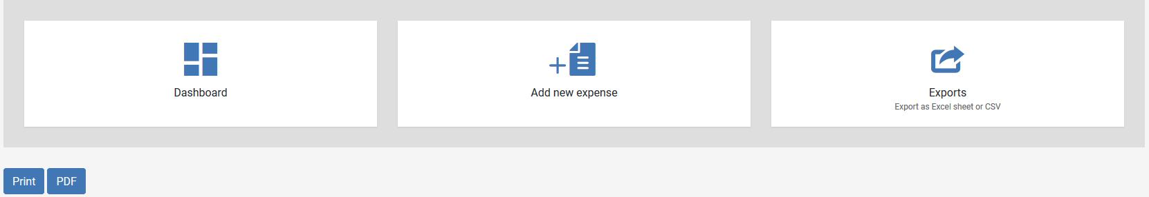 Expenses menu