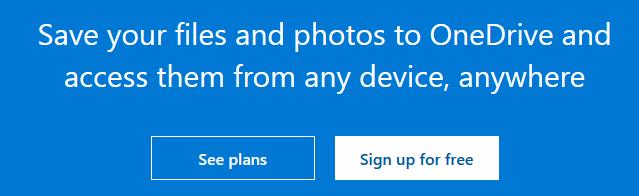 Create OneDrive account Step 1