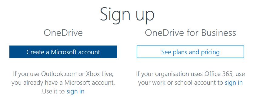 Create OneDrive account Step 2