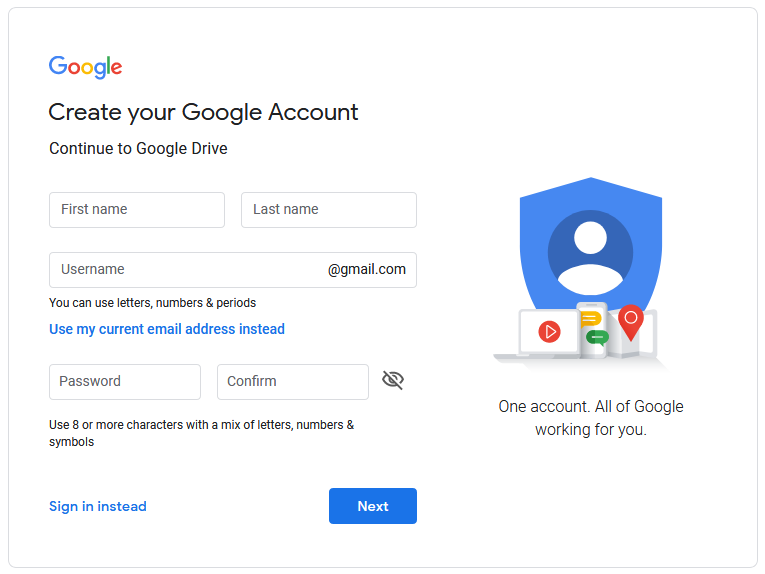 Create new Google Drive account next step