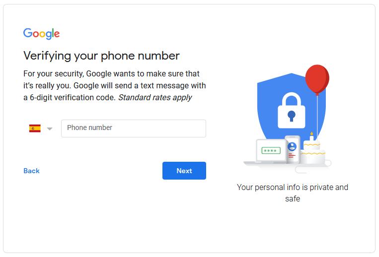 Google Drive Phone verification