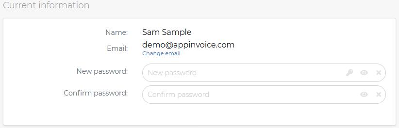 Appinvoice change password