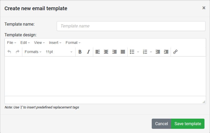 Create new Email template